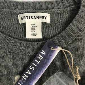 Artisan Ny Sweaters - NWT 100% Wool Gray Sequin Llama Xmas L/S Sweater
